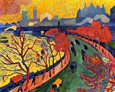 André Derain ~ Charing Cross Bridge I ~ 1906 ~ Olieverf op doek ~ 80 x 100 cm. ~ Musée d'Orsay, Parijs