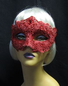 Red Glitter And Lace Venetian Style Ladies Mask
