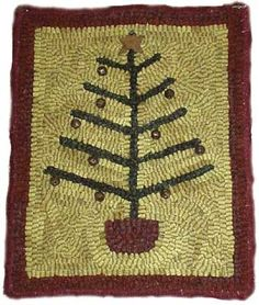 Love this hooked rug! I used old buttons for my ornaments on my feather tree rug.