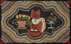 American Hooked Rug, c 1900, Cat and Floral Urns