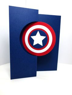 Captain America Card: Handmade Just Because by StampinINK on Etsy
