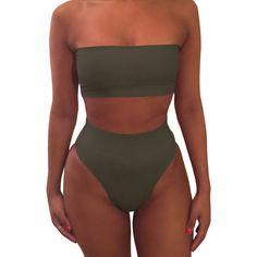 Womens Sexy Plain Bandeau Top&High Waist Bottom Bikini Set Army Green ($11) ❤ liked on Polyvore featuring swimwear, bikinis, high rise bikini, high waisted two piece, army green bikini, olive bikini and bandeau top bikini