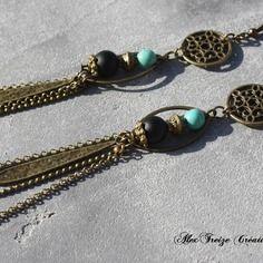 Bijou créateur - boucles d'oreilles pendantes bronze breloques pampilles gouttes antique et perles semi-précieuses turquoise et onyx noir
