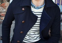 firesidemenswear:  Nice blue layering. Lots of classics here: denim shirt, nautical stripe sweater and a great navy peacoat