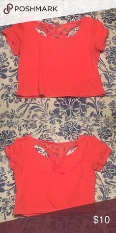 Crop top. Orange/pinkish crop top with lace back. (boobs look great in it btw, just too bright for my style.) Bozzolo Tops Crop Tops