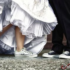 I want to have a couple of wedding photos with us both in casual shoes... Maybe sitting on a deck with our legs dangling :)