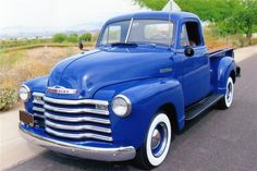 Blue Chevy Classic Pickup Truck
