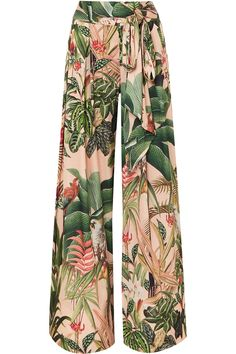 Multicolored stretch-crepe Concealed zip fastening along side polyester, elastane Dry clean For Restless Sleepers, Tropical, Wide Leg Pants, Bohemian Style, Floral Prints, Pajama Pants, Legs, Chic, Paradise