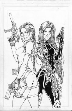 Michael Turner - Tomb Raider / Witchblade Cover, in Frank Mastromauro's Michael Turner Showcase Comic Art Gallery Room Comic Book Girl, Comic Book Artists, Comic Artist, Comic Books Art, Michael Turner, Turner Artworks, Art Sketches, Art Drawings, Comic Kunst