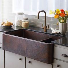 Main Kitchen Sink - Option 1: Farmhouse Duet Pro Copper Kitchen Double-Bowled Apron Sink | Native Trails 40x22x10.5