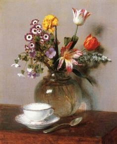 """dayintonight:  """"Vase of Flowers with a Coffee Cup  Henri Fantin-Latour  1865  """""""