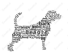Beagle Word Art Calligram Dog Print Gifts by PetGifts on Etsy, $14.99