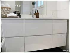 Kvik skap. White gloss bathroom sink units. Great for storage and looks great too.