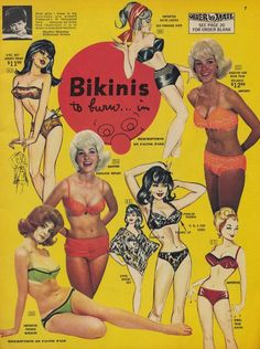 Outdated advertising. Bikinis to burn in