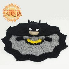 Batman lovey crochet security blanket by AdventuresInYarnia Crochet Batman inspired lovey blanket. The perfect cuddle companion for all crime fighting babies and Batman fans alike! Crochet Security Blanket, Lovey Blanket, Baby Blanket Crochet, Cute Crochet, Crochet For Kids, Crochet Crafts, Crotchet, Crochet Amigurumi, Crochet Dolls