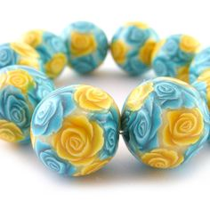 Polymer Clay Beads with Cyan and Yellow Roses  by RolyzCreations, $19.00