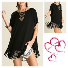 Black Fringe Tunic Short Sleeve Top with Fringe Detail  Woman's size Small (2-4) Medium (6-8) Large (10-12).  Material is a cotton rayon blend.  Any questions please ask.  No trades  ✅ Reasonable offers welcomed. ✅ Happy Poshing  Tops Blouses