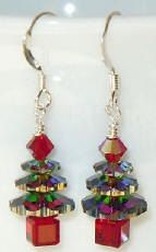 Sparkling Swarovski Vitrail Medium Christmas Tree Earrings - $10