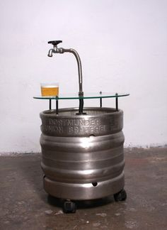Awesome beer barrel table!