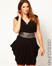 ASOS CURVE Exclusive Drape Dress With Embellished Waist