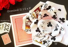 """Oversized 16"""" Playing Card Poker Flower, Casino Table Decor, Vegas Wedding or Event Deco, Playing Card Paper Flower, Bachelorette Party by ThePaintedPetaler on Etsy https://www.etsy.com/listing/285316061/oversized-16-playing-card-poker-flower"""