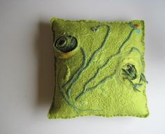 Hand felted hand stitched wool pillow cushion by woolpleasure, $80.00