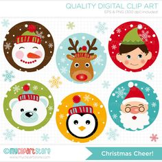 Clipart - Christmas Cheer / Christmas Rounds - ON SALE - Retiring, Limited Quantity Left! Christmas Stickers, Christmas Clipart, Christmas Printables, Christmas Themes, Christmas Holidays, Christmas Decorations, Christmas Characters, Felt Christmas Ornaments, Easy Christmas Crafts