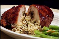 Black Raspberry Glazed Chicken With Wild Rice Stuffing