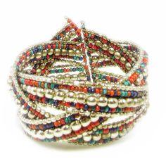 New to VintageVegasGems on Etsy: Stunning Red Blue and Silver Beaded Bangle Bracelet (8.00 USD)