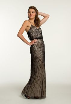 Georgette Blouson Dress with Swirl Beading from Camille La Vie and Group USA #blackdresses