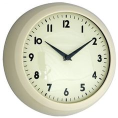 Retro Kitchen Clock in Ivory, Blue or Red Material: Plastic/Metal/Glass Diameter: 240mm Quartz movement requires 1 x AA battery (not included)