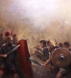 Hannibal's mercenary army battles the legions of Rome - art by Jose Ferre Clauzel