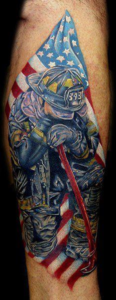 9'11 Firefighter Memorial Tattoo (calf) | Shared by LION