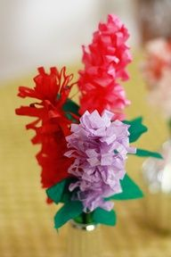 Paper Hyacinth flowers tutorial using tissue paper and drinking straws by Aunt Peaches