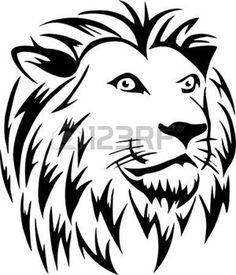 dessin tribal: Tête de lion