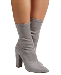 Octavia - Grey Suede Boots, Block Heels, High Heels, Pairs, Chic, Grey, Stitching, Gender, Ankle