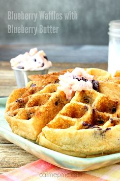 Amazing Blueberry Cornmeal Waffles with Blueberry Butter cornmeal gives these waffles a slight crunch on the outside while remaining juicy on the inside