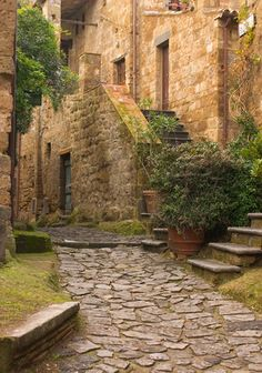 When you cross the footbridge into Civita (Chi vee tah'), you are instantly transported into the 15th century. Cobblestone streets, a mule-driven olive oil press and pre-Roman ruins. There's not a single car or asphalt street to break the spell.  Welcome to medieval Italy.