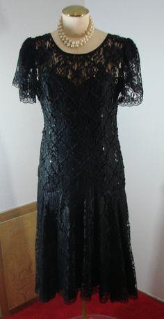 Vintage 80s Cocktail Dress After Dark dress Black lace & Soutache M 37 Bust by TheScarletMonkey on Etsy