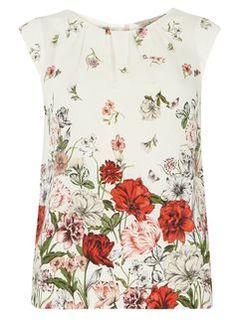 **Billie & Blossom Ivory poppy print shell top