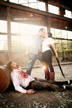 Oklahoma wedding photographer, fun unique creative engagement photos, loves triumphs over zombies!, zombie makeup -- Full photo story: http://annaleemedia.com/blog/2011/10/marianne-jeff-zombies-oh-my/