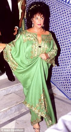 red green trim caftan | Grab a little of the Liz Taylor magic: 950 of the star's personal ...