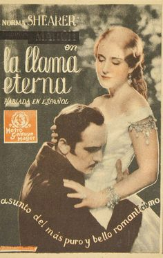 """Programa de mano de cine de la película """"La llama eterna"""", estrenada en España en el año 1934"""