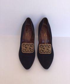 Vintage Pilgrim Style Big Marcasite Buckle High Heel Pumps Sz 8 #fashion #clothing #shoes #accessories #vintage #womensvintageshoes (ebay link)