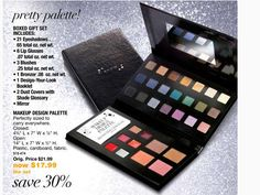 Check out Avon's pretty palette in the Outlet catalog on sale for $17.99!  You get 21 eyeshadows, 6 lip glosses, 3 blushes, 1 bronzer, 1 design your look booklet and 2 dust covers with shade glossary!  Check them out at my eStore: https://jtomlinson.avonrepresentative.com/