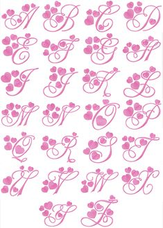 Machine embroidery design named Elegant Hearts Alphabet Cute Fonts Alphabet, Alphabet Cursif, Bubble Letter Fonts, Design Alphabet, Calligraphy Fonts Alphabet, Tattoo Fonts Alphabet, Hand Lettering Alphabet, Embroidery Alphabet, Doodle Lettering
