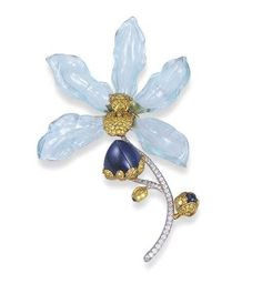 Aquamarine, Sapphire, Yellow Diamond and Diamond Orchid Brooch, Carvin French