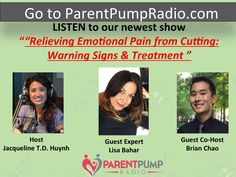 Mark your calendars for this show on Emotional Cutting, Warning Signs and Treatment, airing on August 23, 2017 through August 29, 2017 on ParentPumpRadio.com #EmotionalCutting Emotional Pain, Guest Speakers, Dbt, Warning Signs, New Shows, Behavior, Interview, Presentation, Lisa