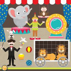 Circus clip art ,CIRCUS digital clipart elements Circus Animal Clipart Printable for Scrapbooking, Cards, Party paper ,Invitations Cr001