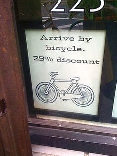 Coffee shop gives incentive to customers to use their bikes more. This is the type of advertising we want to see more of...